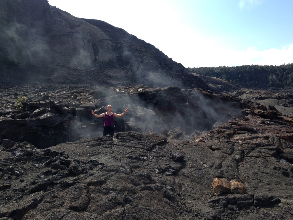 Alice in a 30+ year old crater at Volcanos National Park