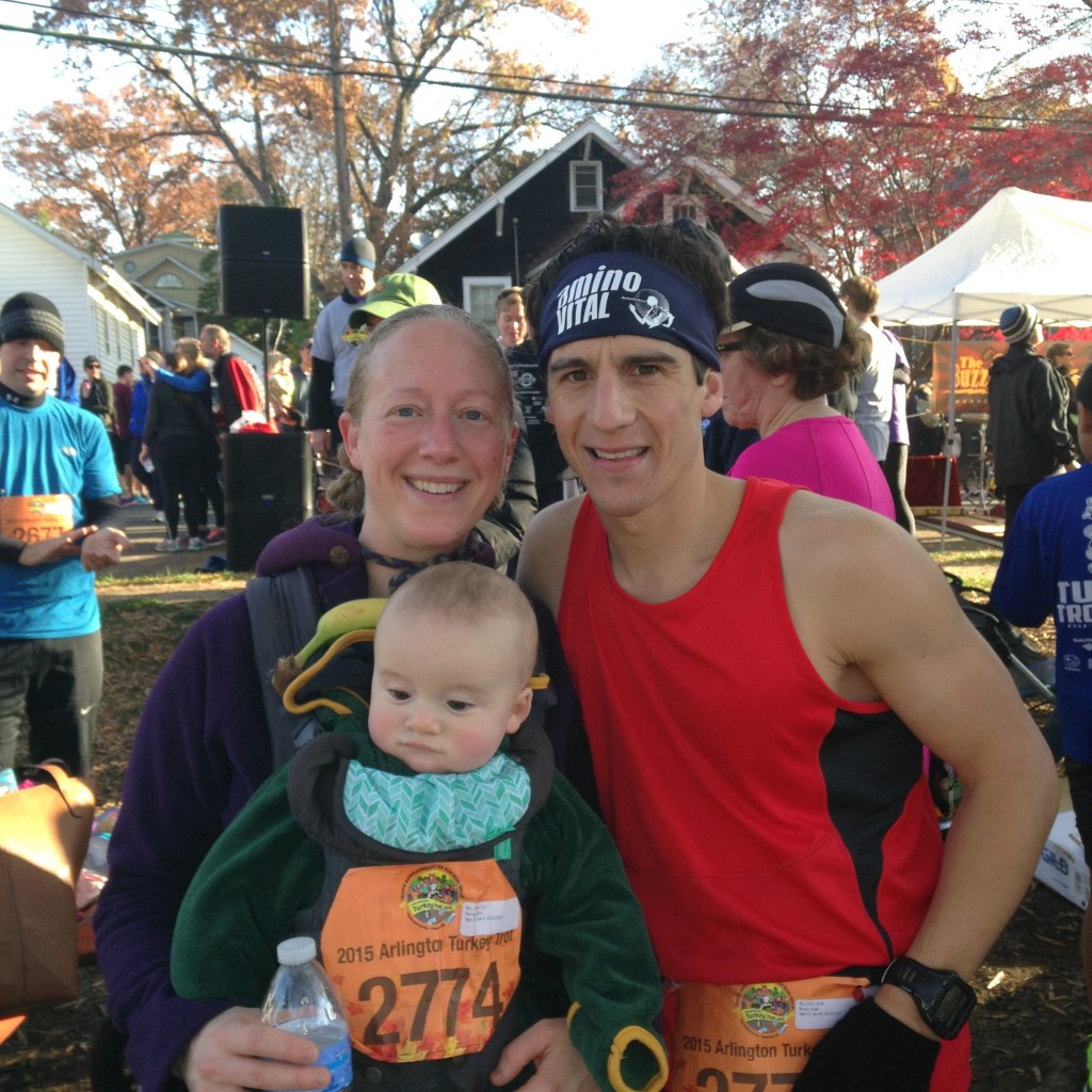 Alice, Gavin, and Me after the Arlington Turkey Trot (Alice actually worked harder than me - carried Gavin all 3 miles in the baby carrier!)